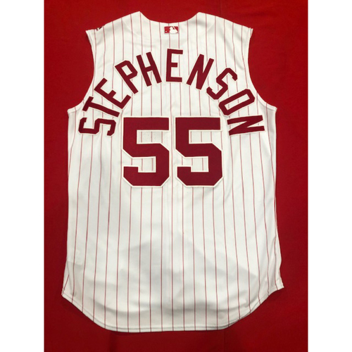 Photo of Robert Stephenson -- Game-Used 1995 Throwback Jersey (Relief Pitcher: 1.0 IP, 0 H, 0 R, 3 K) -- D-backs vs. Reds on Sept. 8, 2019 -- Jersey Size 46