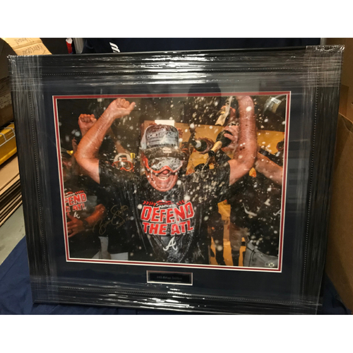 "Photo of Brian Snitker MLB Authenticated Autographed & Framed Celebration Photo with ""2018 Manager of the Year"" Inscription"