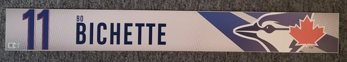 Photo of Authenticated Game Used Locker Name Plate: #11 Bo Bichette (2019 Regular Season). Bichette Became Youngest Blue Jay Ever with Walk-Off HR with this in Place. Rookie Season.