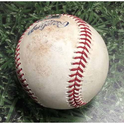 Photo of Game-Used Baseball COL@MIL 08/05/18 - Wade Miley - DJ LeMahieu: Double