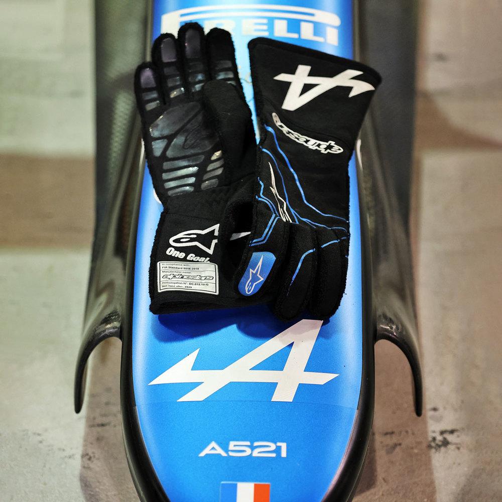 Esteban Ocon 2021 Framed Signed Race-worn Gloves - Spanish GP