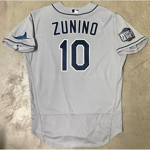 Photo of Game Used World Series Gray Jersey: Mike Zunino - Game #2 and #6 - Games Played in Texas - October 21, 27 at LAD