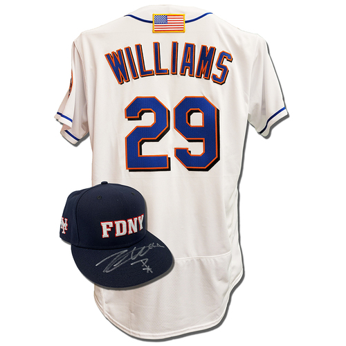 Photo of Trevor Williams #29 - Autographed Game Used First Responder Hat and Game Used White Commemorative Jersey with American Flag Patch - Mets vs. Yankees - 9/11/2021