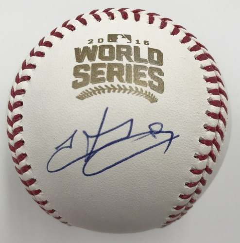 Photo of Hector Rondon Autographed 2016 World Series Logo Baseball