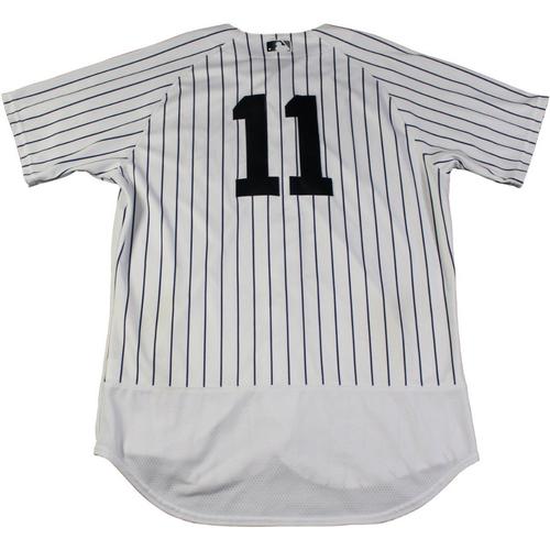 Photo of Brett Gardner New York Yankees Game-Used #11 Pinstripe Jersey (9/2/2017). Jersey Size - 44