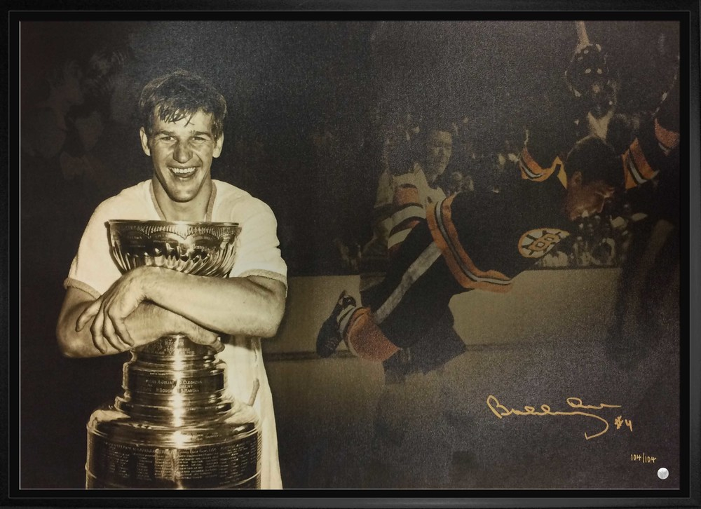 Bobby Orr Signed 20x29 Canvas Framed - The Goal Collage