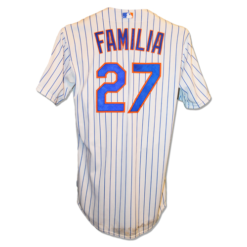 Photo of Jeurys Familia #27 - Game Used White Pinstripe Jersey - Worn During NLDS Game 4, 1 IP, 0 ER - Mets vs. Dodgers - 10/13/15
