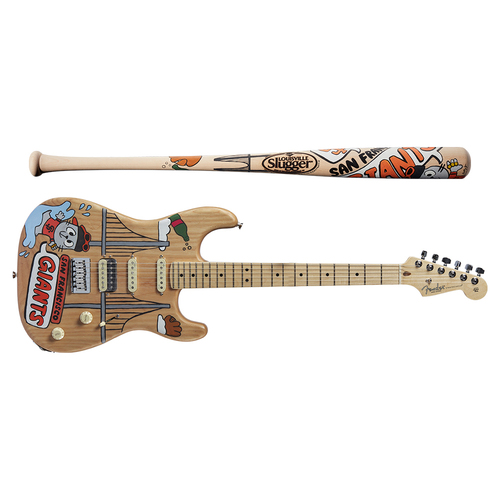 Photo of One-of-a-kind Artist-Painted Giants Louisville Slugger Bat and Fender Stratocaster Guitar