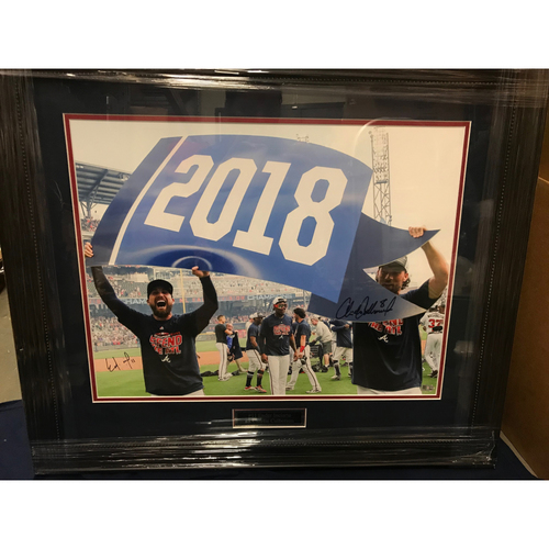 Photo of Charlie Culberson & Ender Inciarte MLB Authenticated Autographed 2018 NL East Celebration Framed Photo