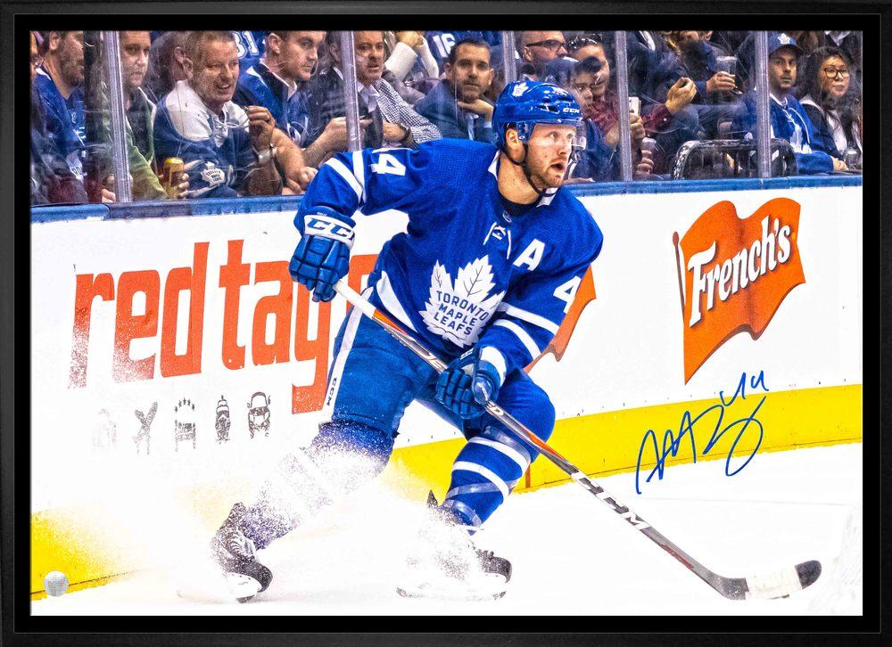 Morgan Rielly Signed 20x29 Canvas Framed Leafs Blue Ice Spray