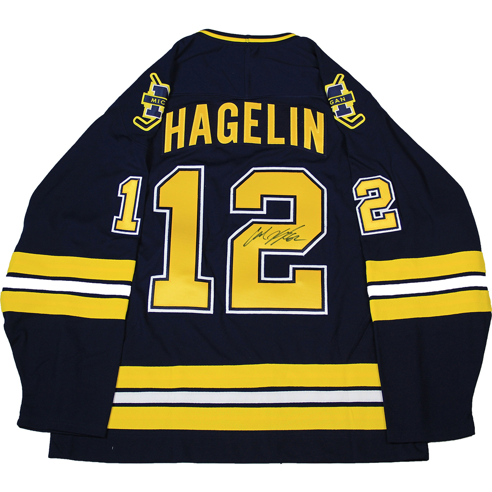 d098a6891 Carl Hagelin Autographed Blue and Yellow University of Michigan 2011 Hockey  Jersey With Captian Badge