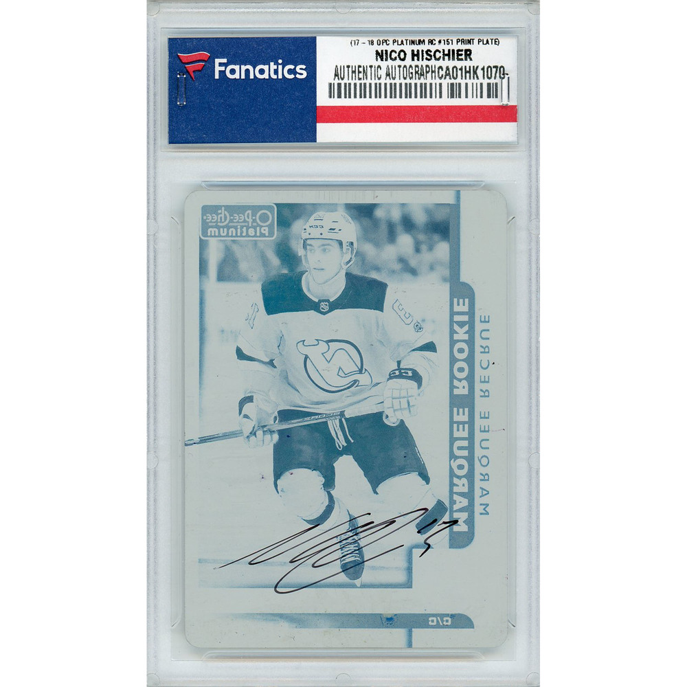 Nico Hischier New Jersey Devils Autographed 2017-18 Upper Deck O-Pee-Chee Platinum #151 Rookie Printing Plate Card - LE of 1