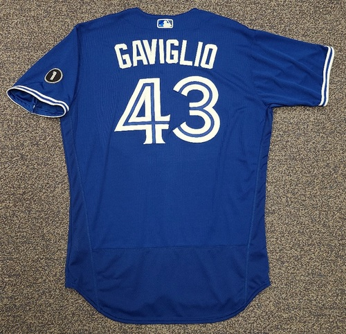 Photo of Authenticated Team Issued Jersey: #43 Sam Gaviglio (2020 Season). Set 2. Size 48.