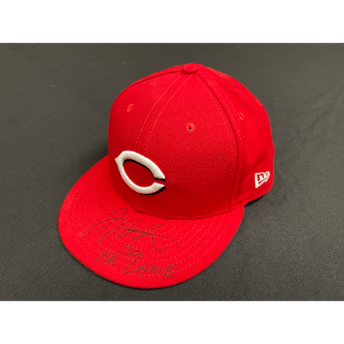 Photo of Joey Votto *Game-Used, Autographed & Inscribed* Hat -- Worn By Joey Votto During 300th Career Home Run Game -- CHC vs. CIN on 04/30/2021