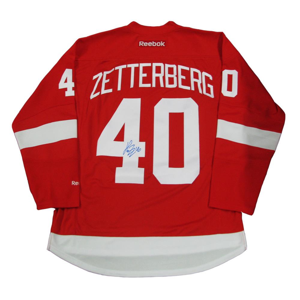 HENRIK ZETTERBERG Signed Detroit Red Wings Red Reebok Jersey