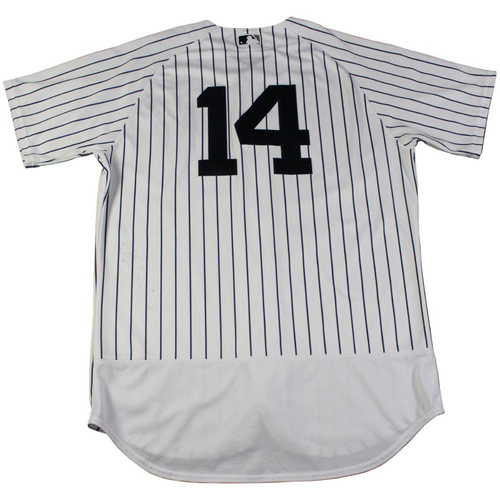 Photo of Starlin Castro New York Yankees Game-Used #14 Pinstripe Jersey (9/2/2017). Jersey Size - 46
