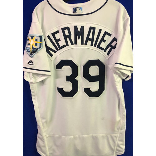 Photo of 20th Anniversary Game Used Home White Jersey: Kevin Kiermaier - Second Career Grand Slam and First Home Run of 2018 - June 25, 2018 v WSH