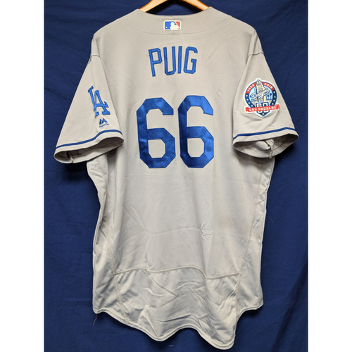 Photo of Kershaw's Challenge: Yasiel Puig Game-Used Road Home Run Jersey - 5/20/18