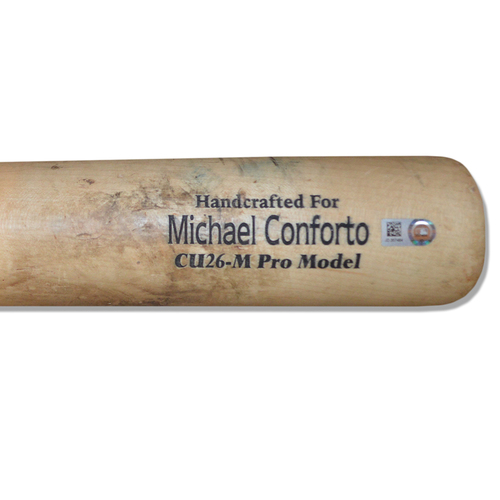Photo of Michael Conforto #30 - Game Used Cracked Bat - Black and Beige Marucci Model - Mets vs. Orioles - 6/5/18