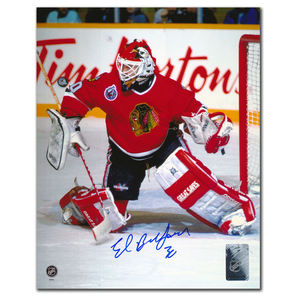 Ed Belfour Chicago Blackhawks BIG SAVE Autographed 8x10