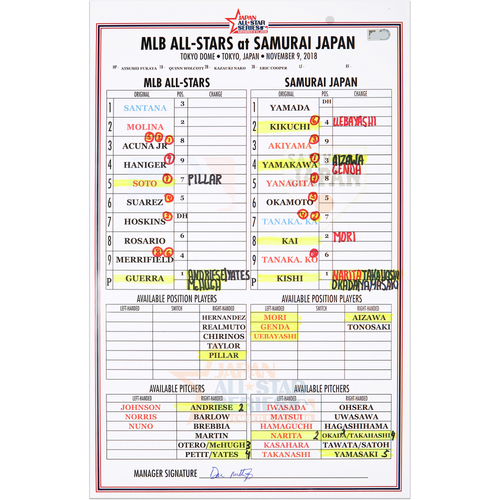 Photo of 2018 Japan Series Game-Used Line-Up Card - MLB Dugout