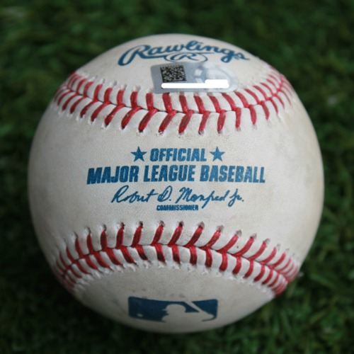 Photo of Game-Used Baseball: Adam Cimber Pitched Strikeout to Adalberto Mondesi (CLE @ KC - 4/14/19)