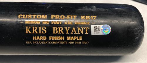 Photo of Kris Bryant Game-Used Cracked Bat -- Jack Flaherty to Kris Bryant, Line Out, Bot 5 -- Cardinals vs. Cubs -- 5/3/19