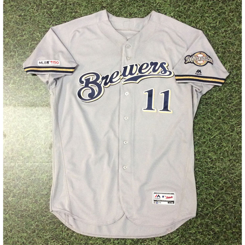 Photo of Mike Moustakas 07/20/19 Game-Used Road Grey Jersey - Go-Ahead, 3-Run HR (#26)