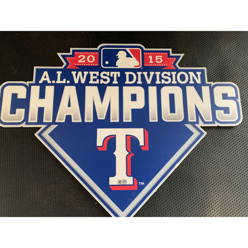 Photo of 2015 A.L. West Champions Sign Displayed in Tunnel Leading From Home Clubhouse to Home Dugout at Globe Life Park