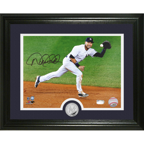 "Photo of Derek Jeter Autographed ""Shortstop"" Silver Coin Photo Mint"