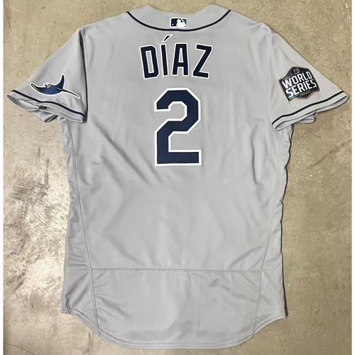 Photo of Game Used World Series Gray Jersey: Yandy Diaz - Game #2 and #6 - Games Played in Texas - October 21, 27 at LAD