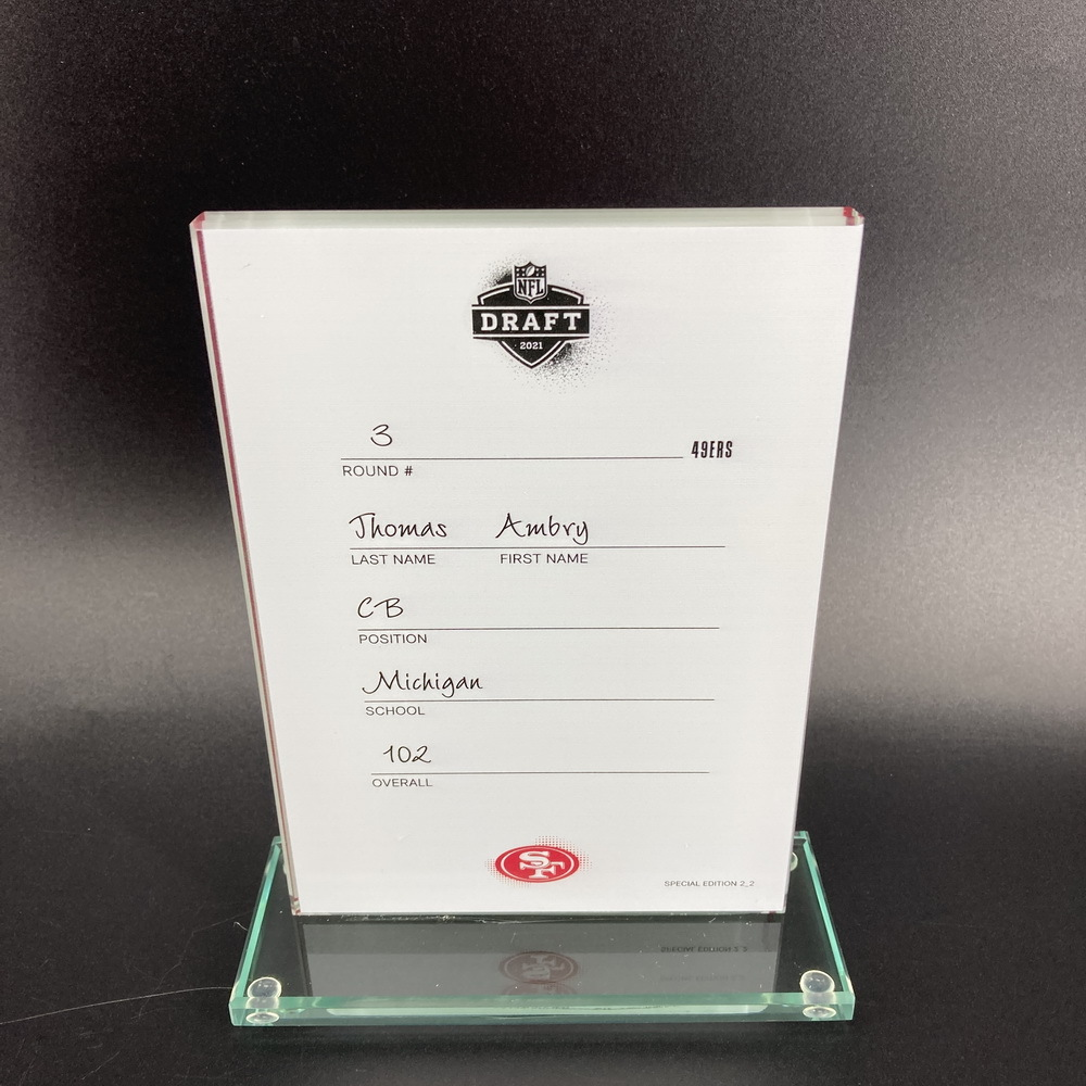 NFL - 49ers Ambry Thomas 2021 NFL Draft Card Special Edition 2 of 2