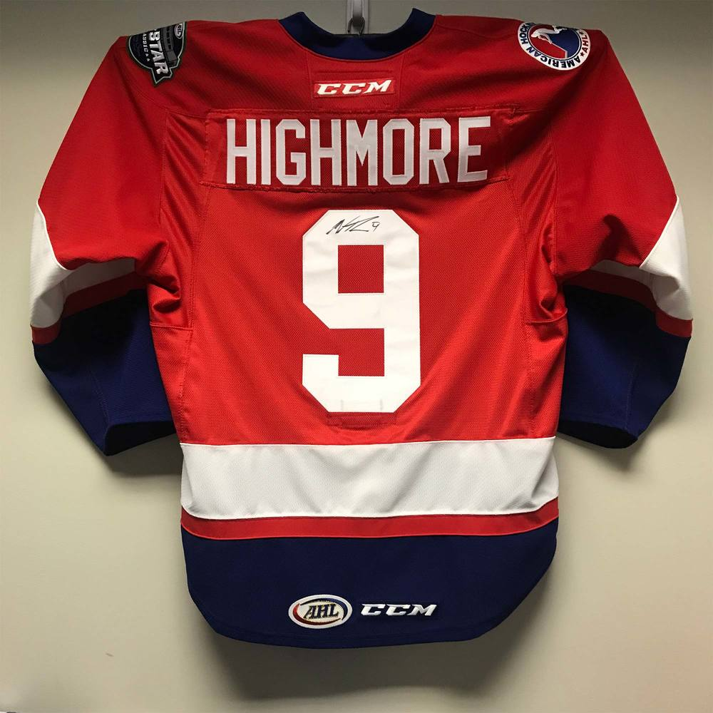 2018 AHL All-Star Challenge Warm-Up Jersey Worn and Signed by #9 Matthew Highmore