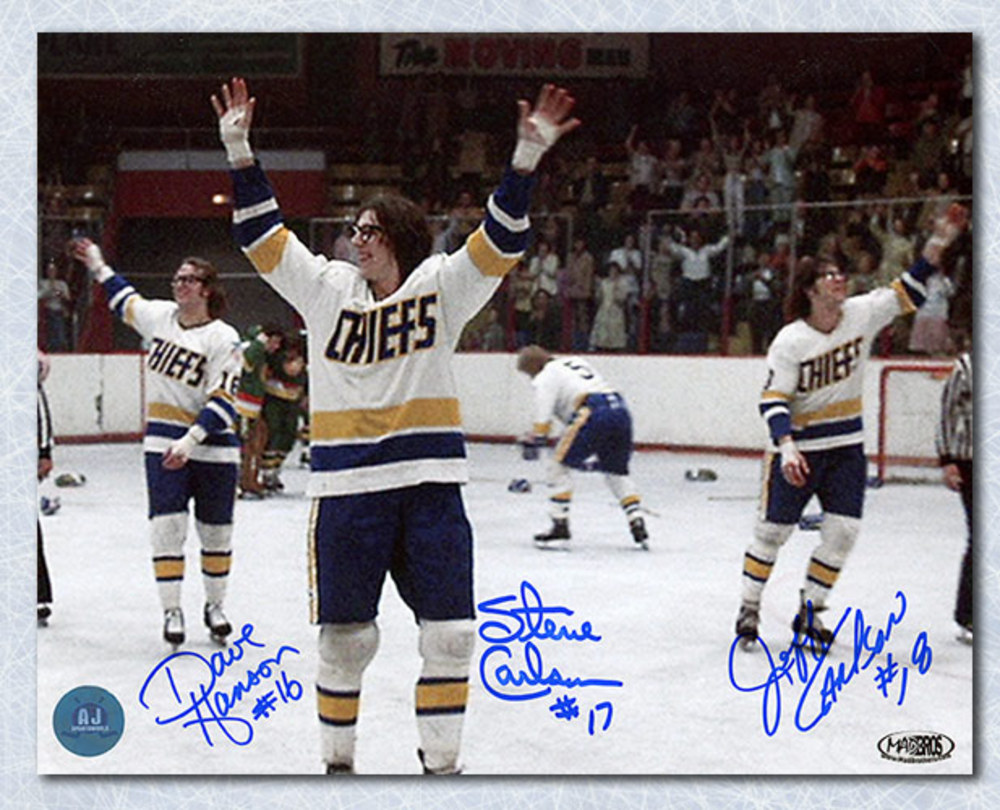 The Hanson Brothers Triple Autographed Slap Shot Waving To The Fans 7x10 Photo