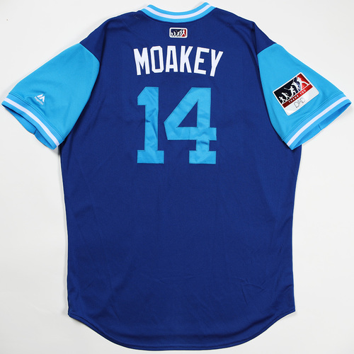 """Photo of Justin """"Moakey"""" Smoak Toronto Blue Jays Game-Used Jersey 2018 Players' Weekend Jersey"""