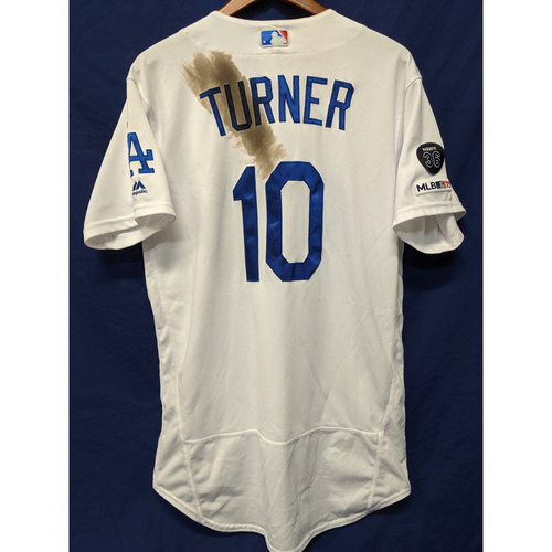 Photo of Los Angeles Dodgers Justin Turner Game-Used Home Jersey - 9/3/19 - 27th Home Run of 2019