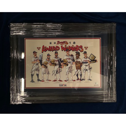 Photo of 2018 Atlanta Braves MLB Award Winners MLB Authenticated Autographed Illustrated Poster