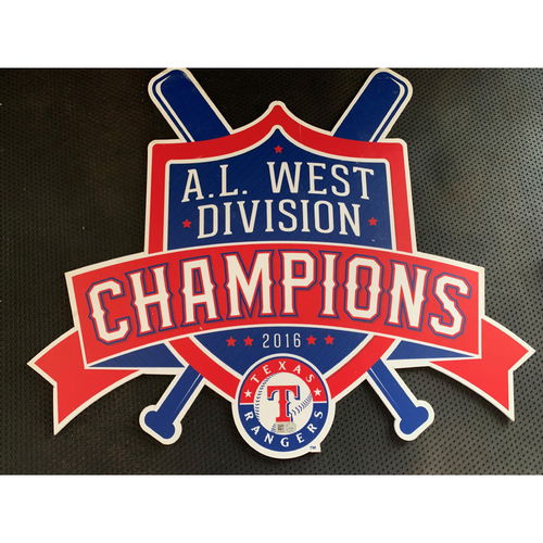 Photo of 2016 A.L. West Champions Sign Displayed in Tunnel Leading From Home Clubhouse to Home Dugout at Globe Life Park