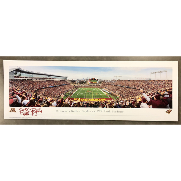 Photo of TCF Bank Stadium Panoramic Print vs Penn State sign by PJ Fleck (Unframed)