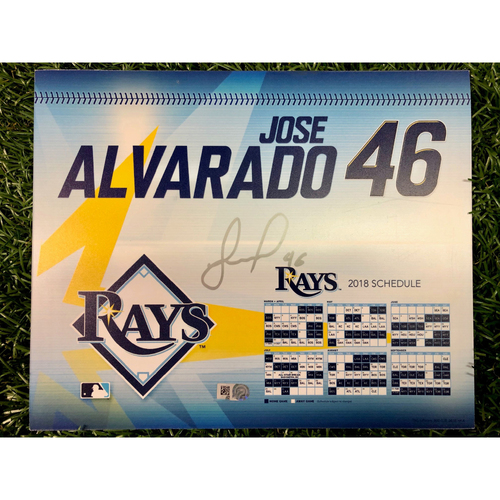 Photo of Game Used Autographed Locker Tag: Jose Alvarado - 2018 Opening Day - March 29, 2018 v BOS