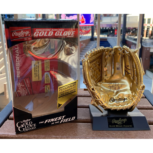 Photo of Freddie Freeman Autographed Mini-Gold Glove