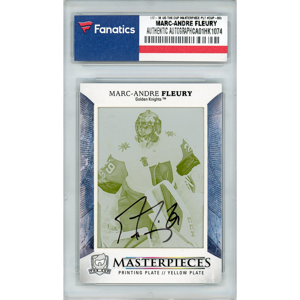Marc-Andre Fleury Vegas Golden Knights Autographed 2017-18 Upper Deck The Cup Masterpieces #CUP-83 Yellow Printing Plate Card