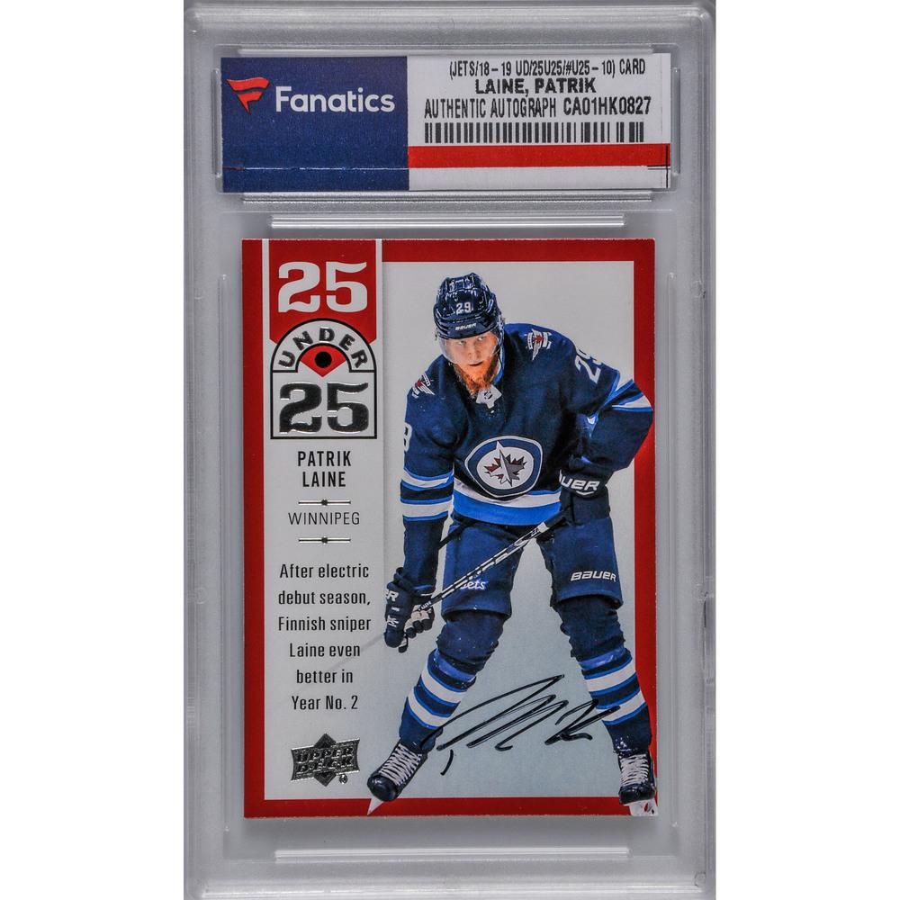 Patrik Laine Winnipeg Jets Autographed 2018-19 Upper Deck Series One Hockey 25 Under 25 #U25-10 Card
