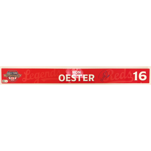 Photo of Ron Oester - Game-used and Autographed Locker Name Plate: 2021 Cincinnati Reds Hall of Fame Legends Game