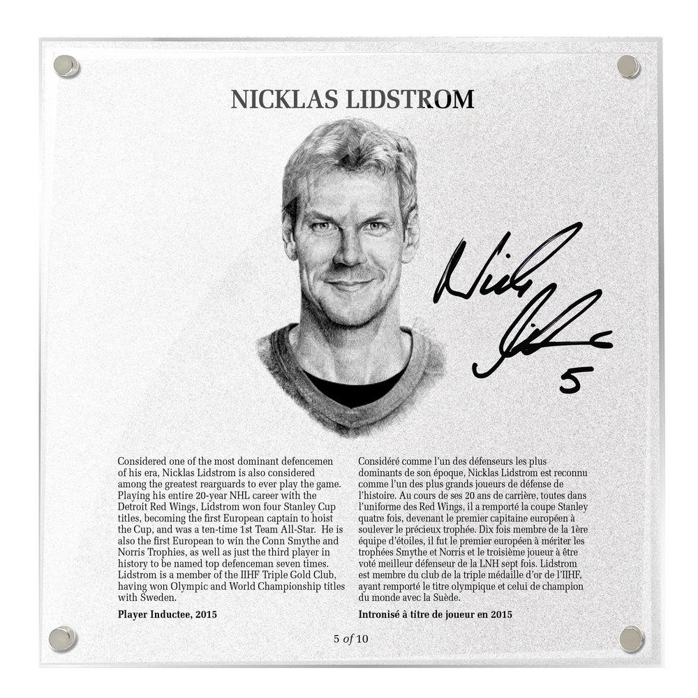Nicklas Lidstrom Autographed Legends Line Honoured Member Plaque - Limited Edition 8/10