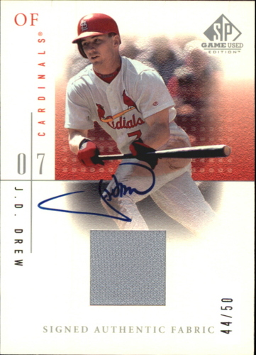 Photo of 2001 SP Game Used Edition Authentic Fabric Autographs #SJDR J.D. Drew