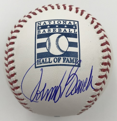 Photo of Johnny Bench Autographed Hall of Fame Logo Baseball