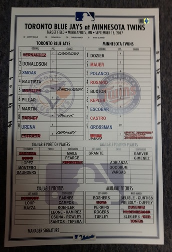 Photo of Authenticated Game Used Lineup Card - September 16, 2017 vs Minnesota. 2 Home Run Game by Josh Donaldson.