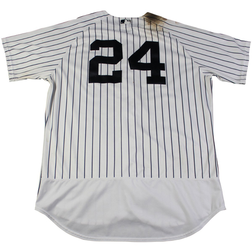 Photo of Gary Sanchez New York Yankees Game-Used #24 Pinstripe Jersey (9/2/2017). Jersey Size - 48