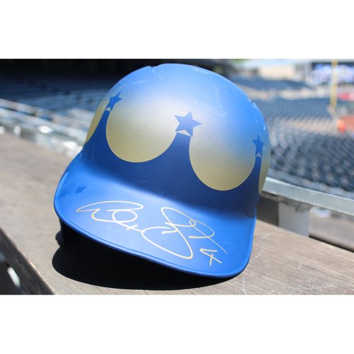 Photo of Game-Used and Autographed Batting Helmet: Alex Gordon (Size 7 3/4 - Inning 1 - KC at SEA - 6/30/18)